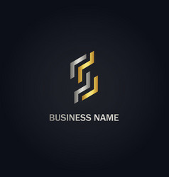 s initial line abstract company gold logo vector image
