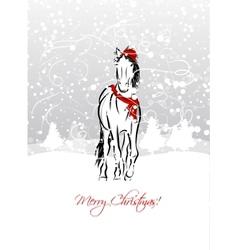 Santa horse sketch for your design Symbol of 2014 vector image
