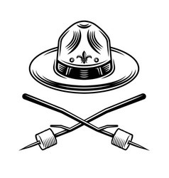 Scout hat and marshmallow on sticks vector