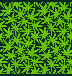 Seamless green pattern with cannabis leaves vector