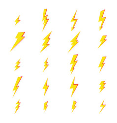 set flash lightning electric thunder icons of vector image