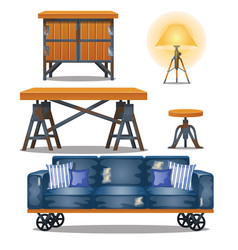 set furniture in workshop in style of vector image