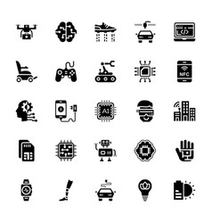 set of artificial intelligence glyph icons vector image