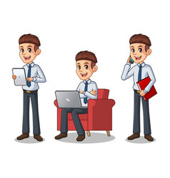 set of businessman in shirt working on gadgets vector image