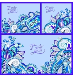 Set of floral blue background template frame vector