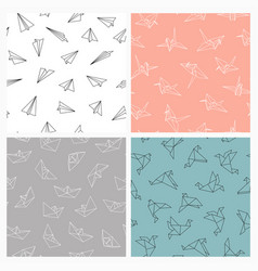 set of seamless origami patterns colorful vector image