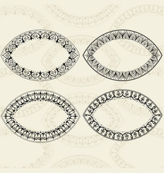 Sketch of oval frames henna style vector