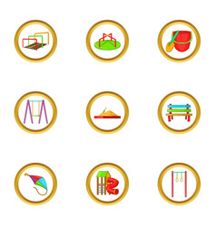 Summer playground icon set cartoon style vector