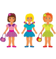 Three little girls vector