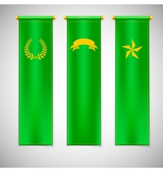 Vertical green flags with emblems vector image