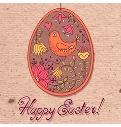 vintage card with easter egg vector image