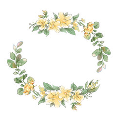 watercolor hand drawing wreath spring delicate vector image