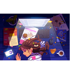 Woman sleep on workplace at night top view burnout vector