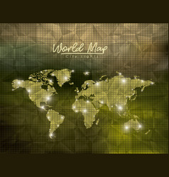 World map city lights in green polygon shape vector