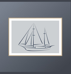 Yacht poster for interior decor vector