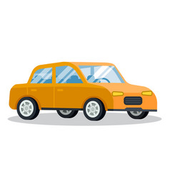yellow car retro vehicle moving forward vector image