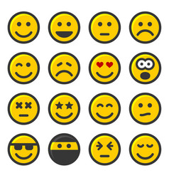 Yellow smile icons set on white background vector
