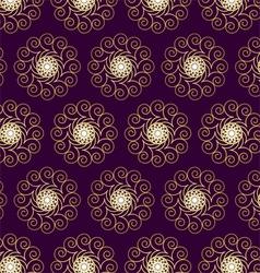 Gold Flower and Swirl Pattern on Dark Purple vector image vector image