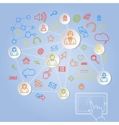 Using tablet for social network concept vector image