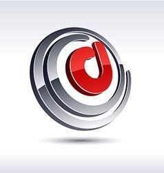 3D D letter icon vector image