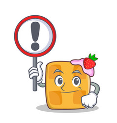 bring sign waffle character cartoon design vector image vector image