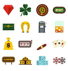 casino set flat icons vector image