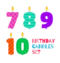 flat design birthday candle set vector image vector image