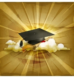 Graduation cap and diploma old style background vector image