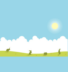Landscape of easter bunny silhouettes vector