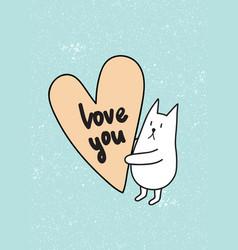 love u rabbit vector image vector image