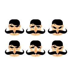 Man with mustache emotions Vintage barbel vector image