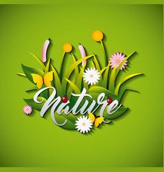 Garden flowers and butterflies vector
