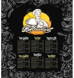restaurant brochure menu cafe template vector image