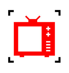 tv sign red icon inside vector image