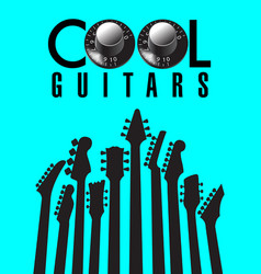 cool guitars graphic with lots of guitar necks vector image vector image