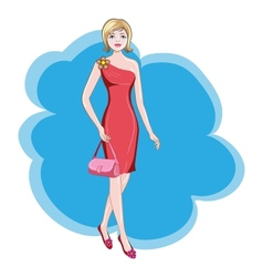 girl in a red dress vector image