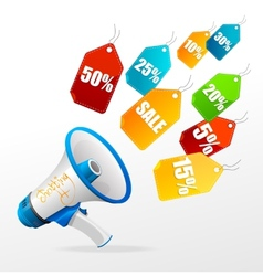 sale labels and megaphone vector image