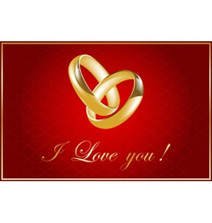 valentine card with wedding rings vector image vector image
