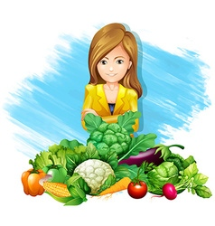 Woman and fresh vegetables vector image