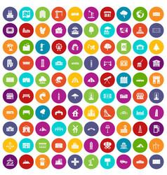 100 landscape element icons set color vector image