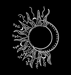 Abstract isolated sun and moon vector