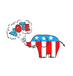 American elephant vote drawing vector
