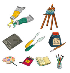 Artist and drawing set icons in cartoon style big vector