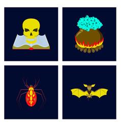 Assembly flat book skull potion vector
