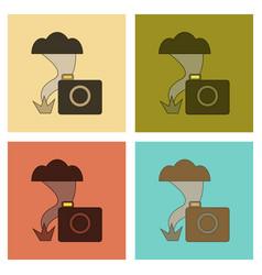 Assembly flat icons tornado camera vector
