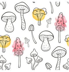 autumn seamless pattern with forest mushrooms vector image