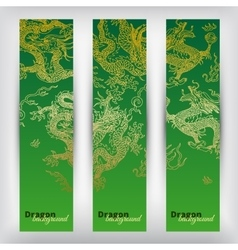 background with asia dragons Banner set vector image
