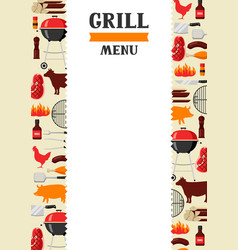 Bbq menu background with grill objects and icons vector