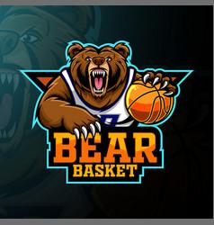 Bear basketball player mascot logo design vector