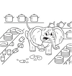 black and white of a cartoon clumsy elephant in a vector image